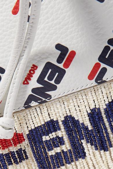 27e7868b954 Fendi | Logo-printed fringed leather shoulder bag | NET-A-PORTER.COM