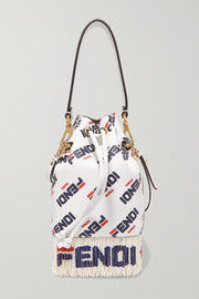 Logo-printed fringed leather shoulder bag