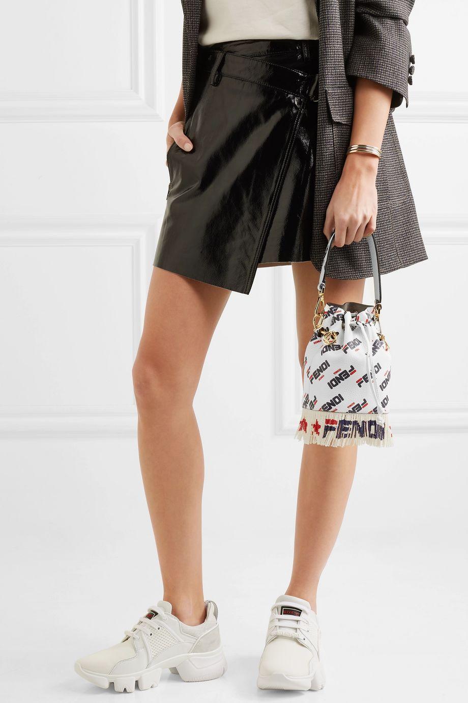 Fendi Logo-printed fringed leather shoulder bag