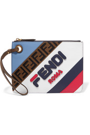 Fendi Striped leather pouch