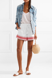 Embroidered cotton-voile shorts