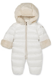Months 3 - 12 Ardisie faux fur-trimmed quilted shell down snowsuit