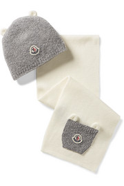 Size XXXS - XS appliquéd wool-blend beanie and scarf set