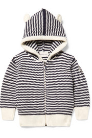 3 months - 3 years hooded striped wool cardigan