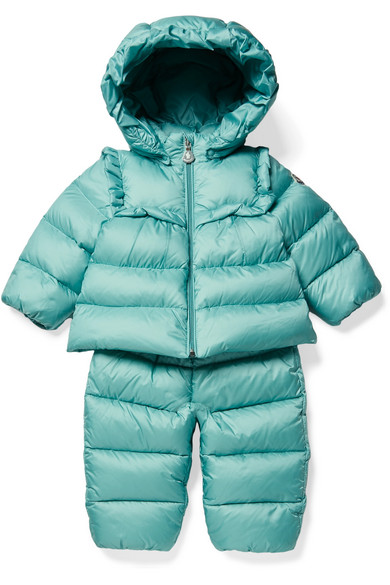 MONCLER KIDS   Moncler Kids - Months 3 - 24 Rorotea Hooded Quilted Shell Down Jacket And Pants Set   Goxip