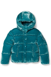 Ages 8 - 10 Caille hooded quilted shell down velvet jacket