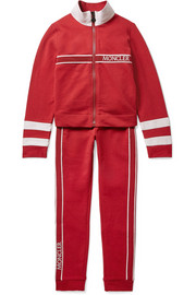 Ages 8 - 10 grosgrain and shell-trimmed cotton-blend jersey tracksuit