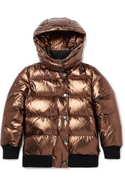 Ages 8 - 10 Verdier hooded metallic quilted shell down jacket