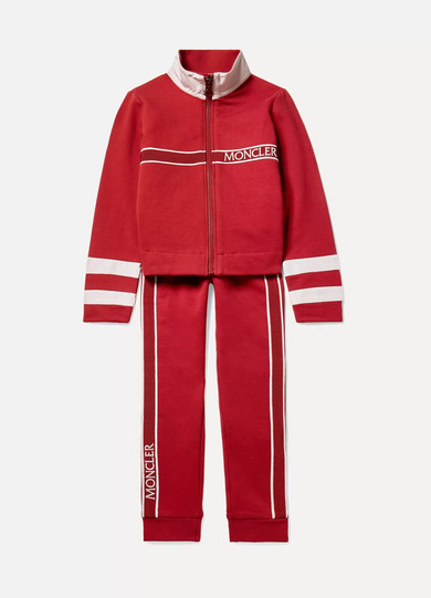 MONCLER KIDS | Moncler Kids - Ages 4 - 6 Grosgrain And Shell-trimmed Cotton-blend Jersey Tracksuit | Goxip