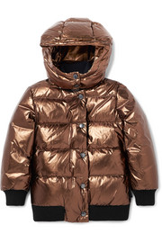 Ages 4 - 6 Verdier hooded metallic quilted shell down jacket