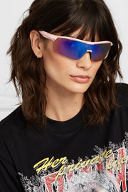 Turbo Wrap D-frame acetate mirrored sunglasses