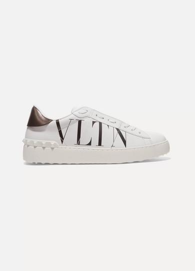 Valentino Garavani Logo Print Leather Sneakers by Valentino