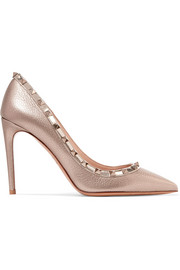 Valentino Valentino Garavani The Rockstud metallic textured-leather pumps