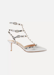 Valentino Valentino Garavani The Rockstud mirrored and metallic textured-leather pumps