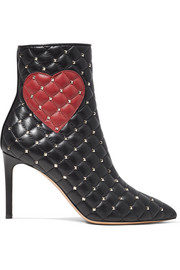 Valentino Valentino Garavani studded quilted leather ankle boots