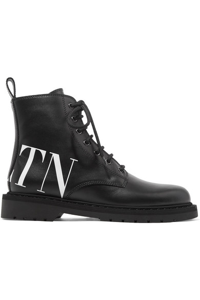 Logo Leather Lace-Up Boots - Black Size 10.5