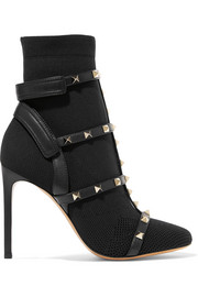 Valentino Valentino Garavani The Rockstud leather-trimmed stretch-knit ankle boots