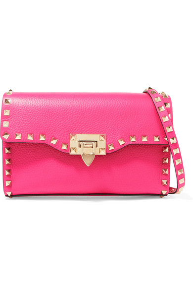 Valentino - Valentino Garavani The Rockstud Textured-leather Shoulder Bag - Fuchsia