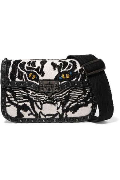 Valentino Garavani The Rockstud Rolling embroidered textured-leather shoulder bag