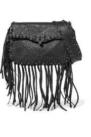 Valentino The Guitar Rockstud fringed embellished textured-leather shoulder bag