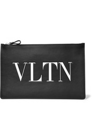 Valentino Valentino Garavani embossed printed leather pouch