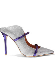 Malone Souliers Maureen metallic-trimmed glittered leather mules