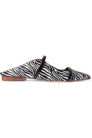 Maureen leather-trimmed zebra-print satin point-toe flats