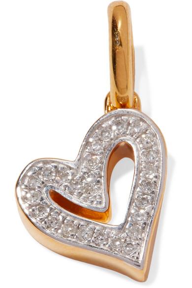 Monica Vinader - Alphabet Heart Gold Vermeil Diamond Pendant
