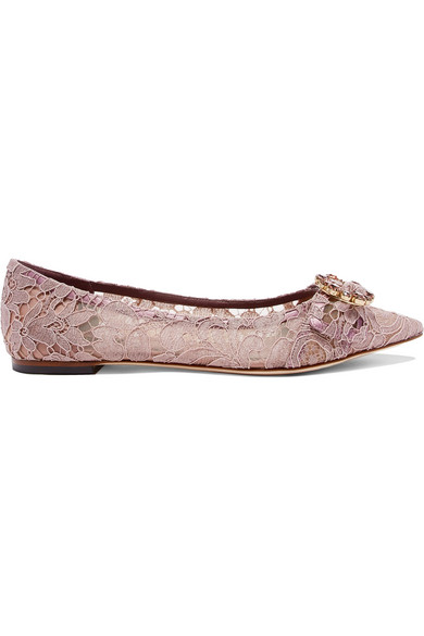Crystal-Embellished Corded Lace Point-Toe Flats in Lilac