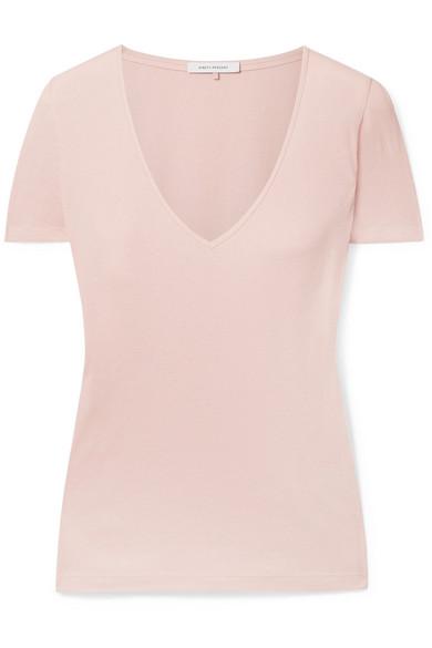 Marisa Ribbed Organic Cotton-Jersey T-Shirt in Blush