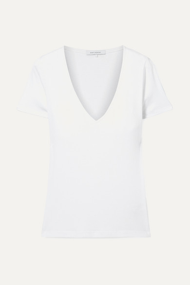 Marisa Ribbed Organic Cotton-Jersey T-Shirt in White