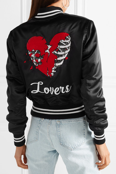 bd851c1e28a Lovers crystal-embellished embroidered silk-satin bomber jacket. £1,779.17  £889.5950% OFF. Play