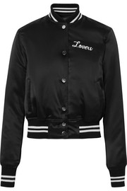 AMIRI Lovers crystal-embellished embroidered silk-satin bomber jacket