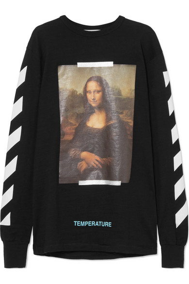 Off-White - Printed Cotton-jersey Top - Black