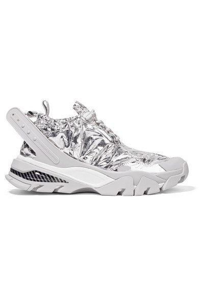 Caramene Metallic Shell And Rubber Sneakers in Silver