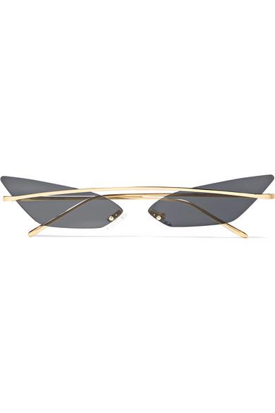 POPPY LISSIMAN Skinny Demon Cat-Eye Gold-Tone Sunglasses in Black