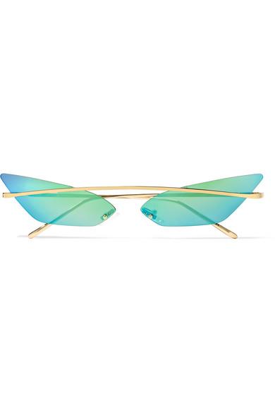 POPPY LISSIMAN Skinny Demon Cat-Eye Gold-Tone Mirrored Sunglasses in Green