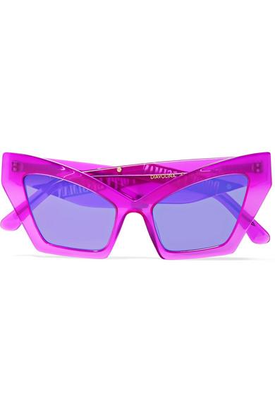 POPPY LISSIMAN Diavolina Cat-Eye Acetate Sunglasses in Fuchsia