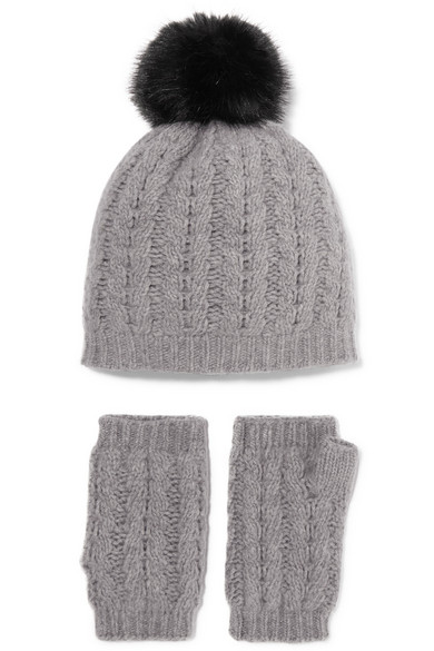 Cable Knit Cashmere Beanie And Fingerless Gloves Set by Portolano