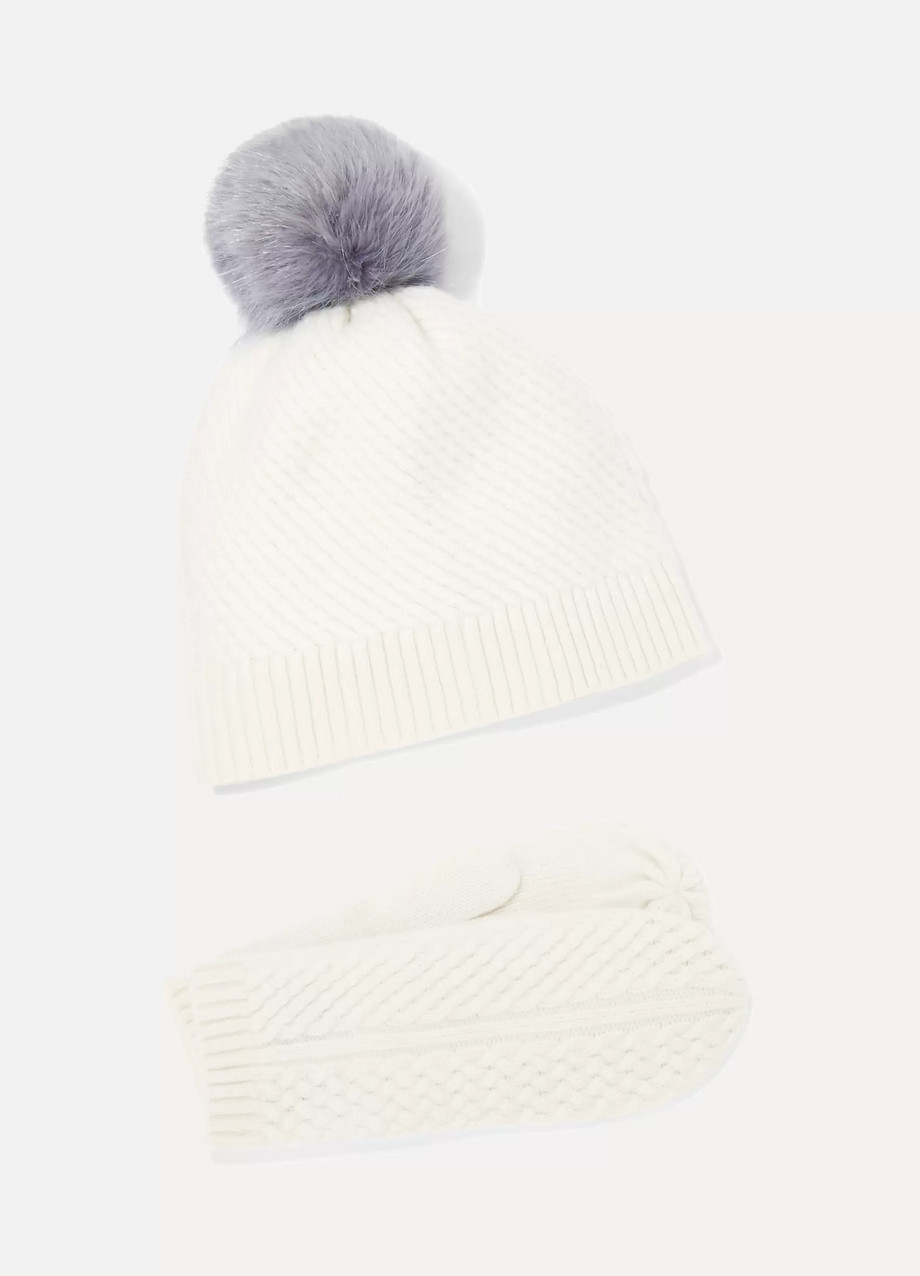 Portolano Cashmere mittens and pompom-embellished beanie set
