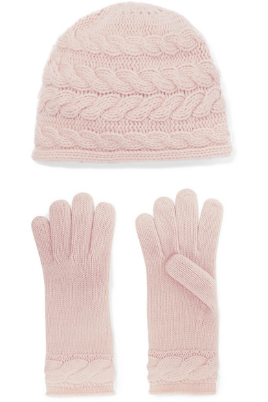 PORTOLANO Cable-Knit Cashmere Beanie And Gloves Set in Blush