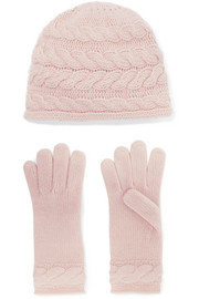 Cable-knit cashmere beanie and gloves set