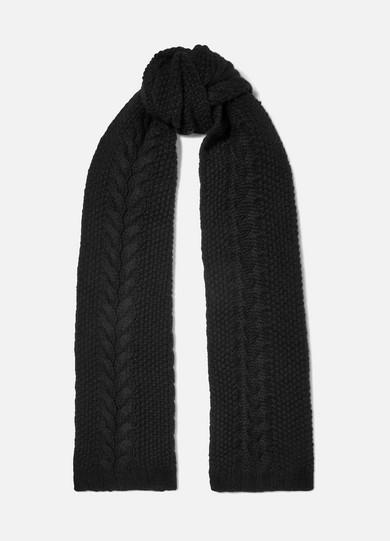 PORTOLANO Cable-Knit Cashmere Scarf in Black