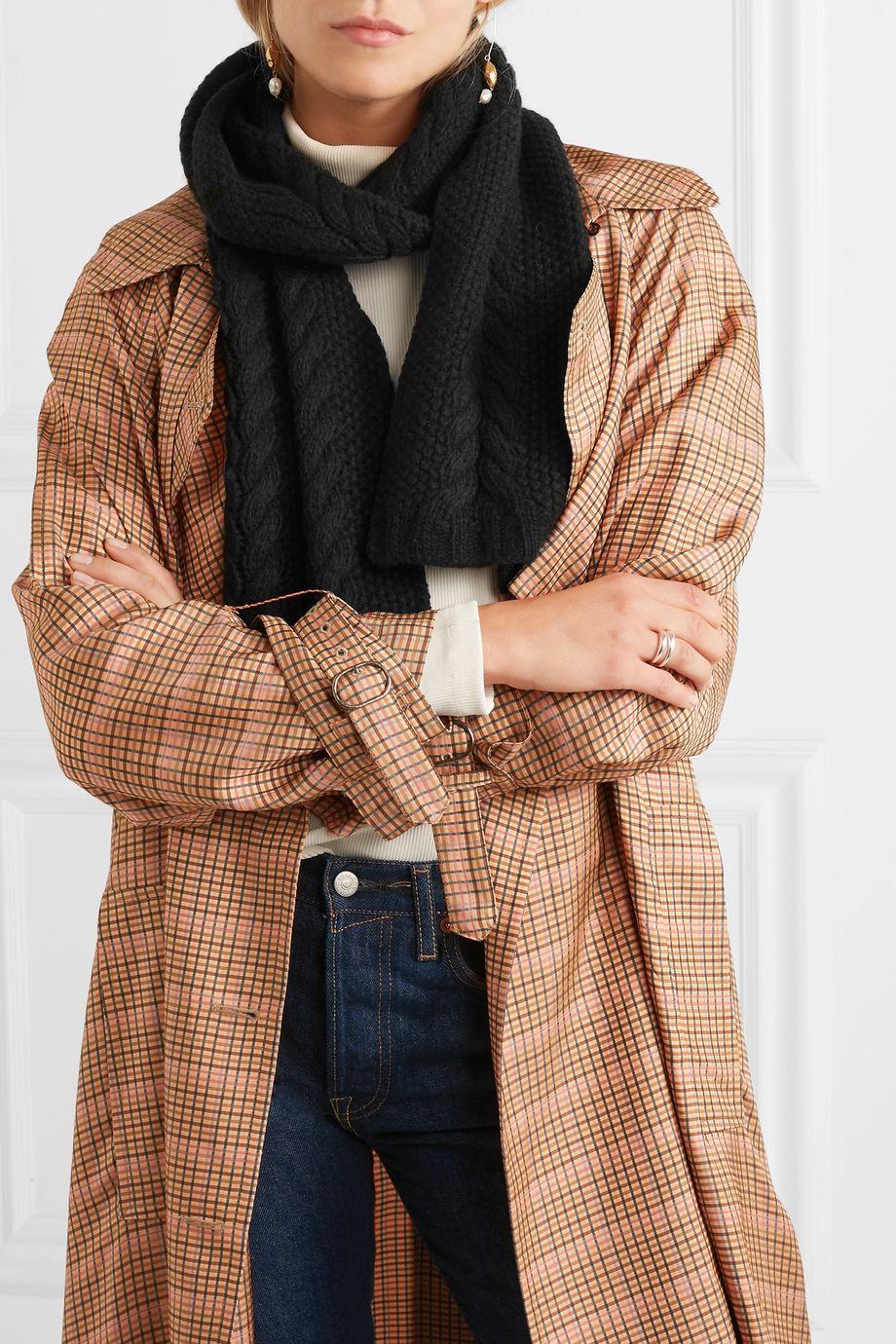 Portolano Cable-knit cashmere scarf