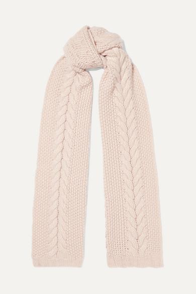 PORTOLANO Cable-Knit Cashmere Scarf in Blush