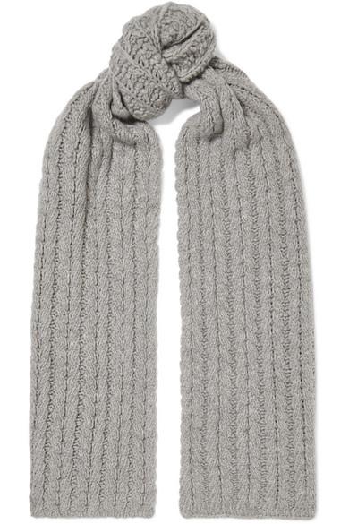 PORTOLANO Cable-Knit Cashmere Scarf in Light Gray