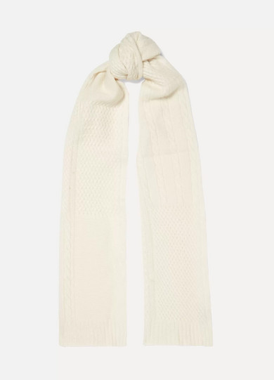 PORTOLANO Cable And Waffle-Knit Cashmere Scarf in White