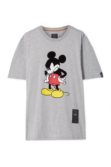 Disney Oversized Printed Cotton-Jersey T-Shirt in Gray