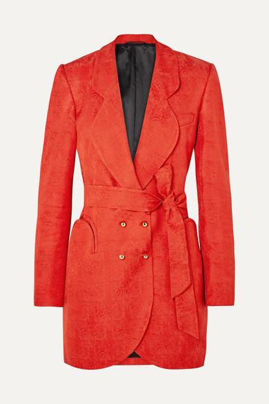 BLAZÉ MILANO Sunshine Belted Satin-Jacquard Mini Dress in Orange