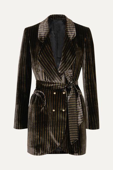 BLAZÉ MILANO Sunshine Belted Striped Velvet Mini Dress in Black